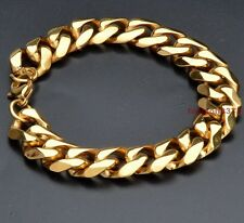 """Hot Sell Mens Jewelry Yellow Gold Stainless Steel Curb Cuban Bracelet 15mm8.66"""""""