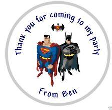 PERSONALIZZATO SUPERMAN & BATMAN Festa di compleanno Sacco regalo adesivi
