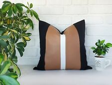 Color block vertical white line tan faux leather and black fabric pillow-1qty