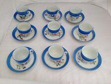 HAVILAND LIMOGES BLUE BAND HAND PAINTED FLOWERS NINE 9 TEA CUP SAUCER