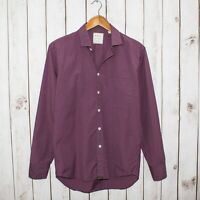 BILLY REID Standard Cut Men's Button Front Shirt Burgundy Red Mini Check Size S