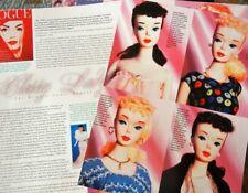 8p History Article + Color Pics -  Vintage & Rare Mattel #3 Ponytail Barbie Doll