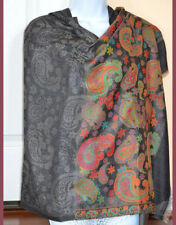 Handwoven Cashmere Pashmina Shawl Black Color Paisley Design from India!