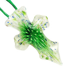 Green Flower White Cross Lampwork Glass Murano Bead Pendant Ribbon Wax Necklace