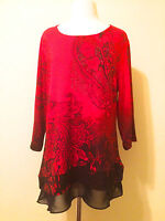 CJ BANKS *NEW (L) RED STUDDED PAISLEY ROUND NECK 3/4 SLEEVES CHIFFON LAYER TOP