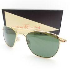 AO American Optical Original Pilot 52mm 23k Gold Green Glass Bayonet Sunglasses