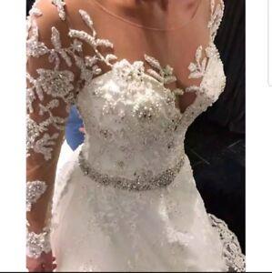 UK 2019 white Ivory Beaded Lace Long Sleeve A Line Wedding Dresses Size 6-22