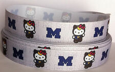 "5 Yards Michigan Wolverines Fourth Style 7/8""Printed Grosgrain Ribbon"