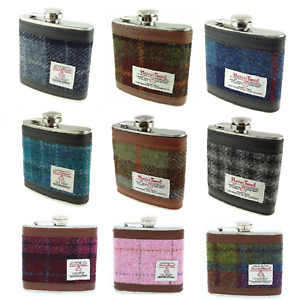 Glen Appin Harris Tweed 6oz Hip Flask In Black Gift Box Lots Of Colour Choices