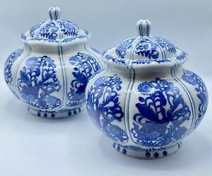 2 x Vintage Chinese Blue and White Pot Jar w/ Lid, Hand Painted, Kangxi Mark