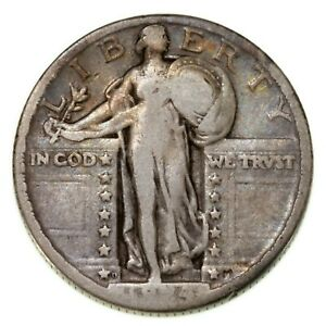 1924-D 25C Standing Liberty Quarter in Good Condition, Natural Color, Full Rims