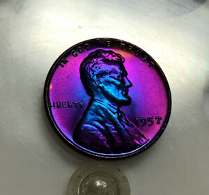 Lincoln Wheat Cent 1957 BU Monster rainbow TONED US Coin