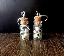 Rainbow eyeballs in jar earrings, handmade Halloween creepy cute dangle earrings