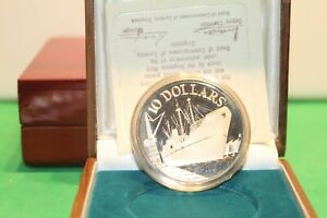 1976 Singapore $10 Ship 10th Anniversary Proof Silver Coin # 7799/10000