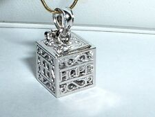 14K WHITE GOLD 3D RELIGIOUS PRAYER BOX CHARM - 0pens