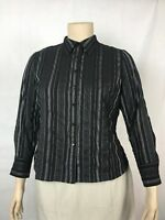 East 5th Women's Petite Button Down Blouse Size XL Black Pinstripe Long Sleeve