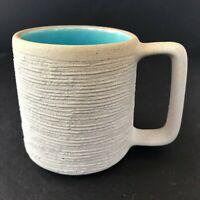 Vintage Stoneware Coffee Mug Pigeon Forge Pottery Beige Texture Blue Interior