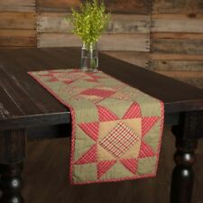 Dolly Star Red Green Quilted Table Runner 13x36 Country Farmhouse Holiday Decor