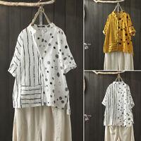 ZANZEA Women's Buttons Down Casual Stripe Polka Dot Shirt Tops Asym Hem Blouse
