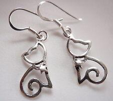 Star Wearing Kitty Cat Earrings 925 Sterling Silver Dangle Very Small