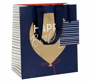 Mens Happy Birthday Balloon Luxury Gift Bag - Medium Party Giftbag For Him