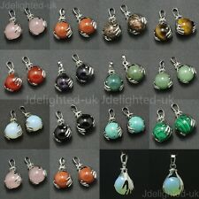 Natural Mix Gemstone Hands Palm Ball Round Reiki Chakra Pendant Necklaces Beads