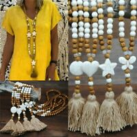 Elegant Long Tassel Pendant Sweater Women Turquoise Beads Necklace Chain Jewelry