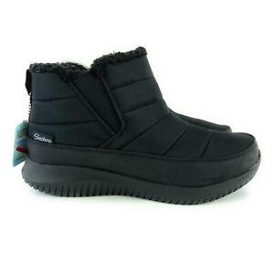 Skechers Women's Ultra Flex Shawty Scotchgard Black Ankle Boots Size 10 M