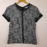 Veronika Maine Top Size 8 Black White Textured Short Sleeve