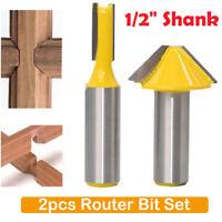 2Pcs Router Bit Holz Fräser Oberfräser 1/2 Schaft Für Holzbearbeitung