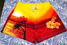 [Free Lotion] Super Sexy Catalina Hawaiian-Style Swim Shorts Lg Red-Yellow-Black