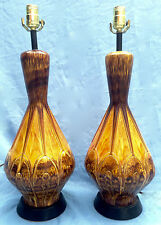 Matching Pair Of Mid Century Glazed Pottery Table Lamps