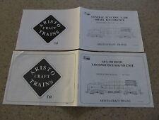 AristoCraft General Electric U-25B Locomotive Manual Instructions Free Ship