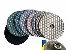 4 Inch DRY Diamond Polishing Pad 9 Piece & Backer Ceramic Granite Glass Concrete