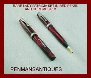 CIRCA 1940 RARE WATERMAN'S LADY PATRICIA SET IN RED PEARL