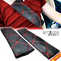x2 FUNDAS PROTECTORES ALMOHADILLAS CINTURON SEGURIDAD CAR SEATBELT RED STRIPES