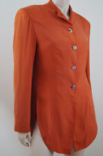 Nicole Farhi para mujer Orange 100% Seda Ligero Chaqueta Blazer Cuello Alto talla:6/8