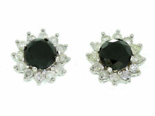 2.00ct blanco y Negro Diamante Pendientes en 14k ORO BLANCO