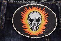 Men Women Silver Belt Buckle Biker Western Fashion Black Leather Flaming Skull