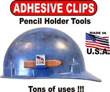 Adhesive Pencil Clips for hard hat clipboard saw power tools 50 Blue Clips Usa