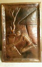 Vintage African Bronze Metal Artwork Panel Plaque (Depicts Woman Working)