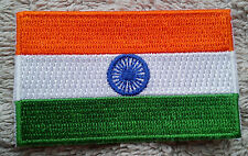 INDIA FLAG PATCH Embroidered Badge Iron or Sew on 4.5cm x 6cm Indian Gaṇarāj NEW