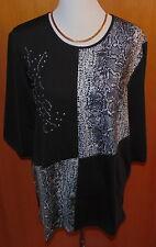 IN-PRINT Shirt 3/4 Arm  Schlangen-Druck Strasssteine Gr.M  QVC