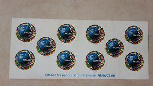 TIMBRES FOOTBALL COUPE du MONDE 98 FRANCE   neufs bande de 10 adhésifs YT BC 17