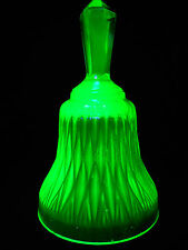 Green Vaseline Uranium glass hand Bell ring yellow Diamond Akro dinner neon Glow