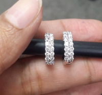 DEAL! 0.70 Carat Natural Diamonds 2 rows Hoops Huggies Earrings in 14k Gold