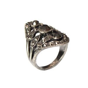 Edelstahl Ring mit Strass Modeschmuck Silber