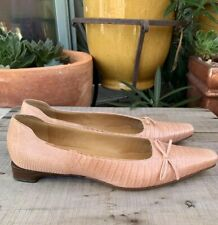 GUCCI Pink Tan lizard Skin Leather Loafers flats  With Bow Made in Italy Size 8
