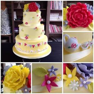 TEA PARTY ROSES BUNTING edible Icing Wedding Birthday Cake Topper decorations