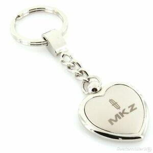 Lincoln MKZ Satin Two Tone Heart Shape Key chain (Chrome)